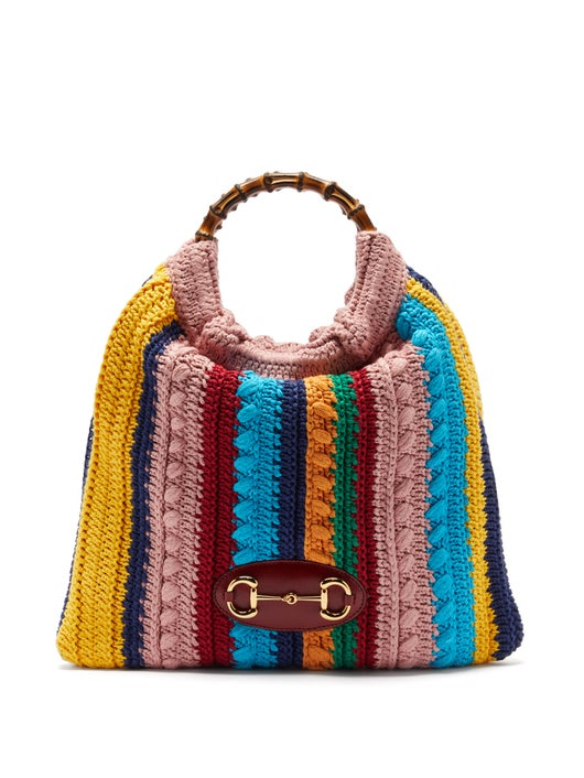 GUCCI Horsebit 1955 bamboo and crochet bag