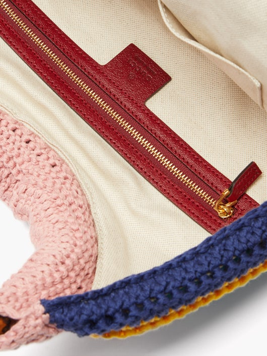 GUCCI Horsebit 1955 bamboo and crochet bag